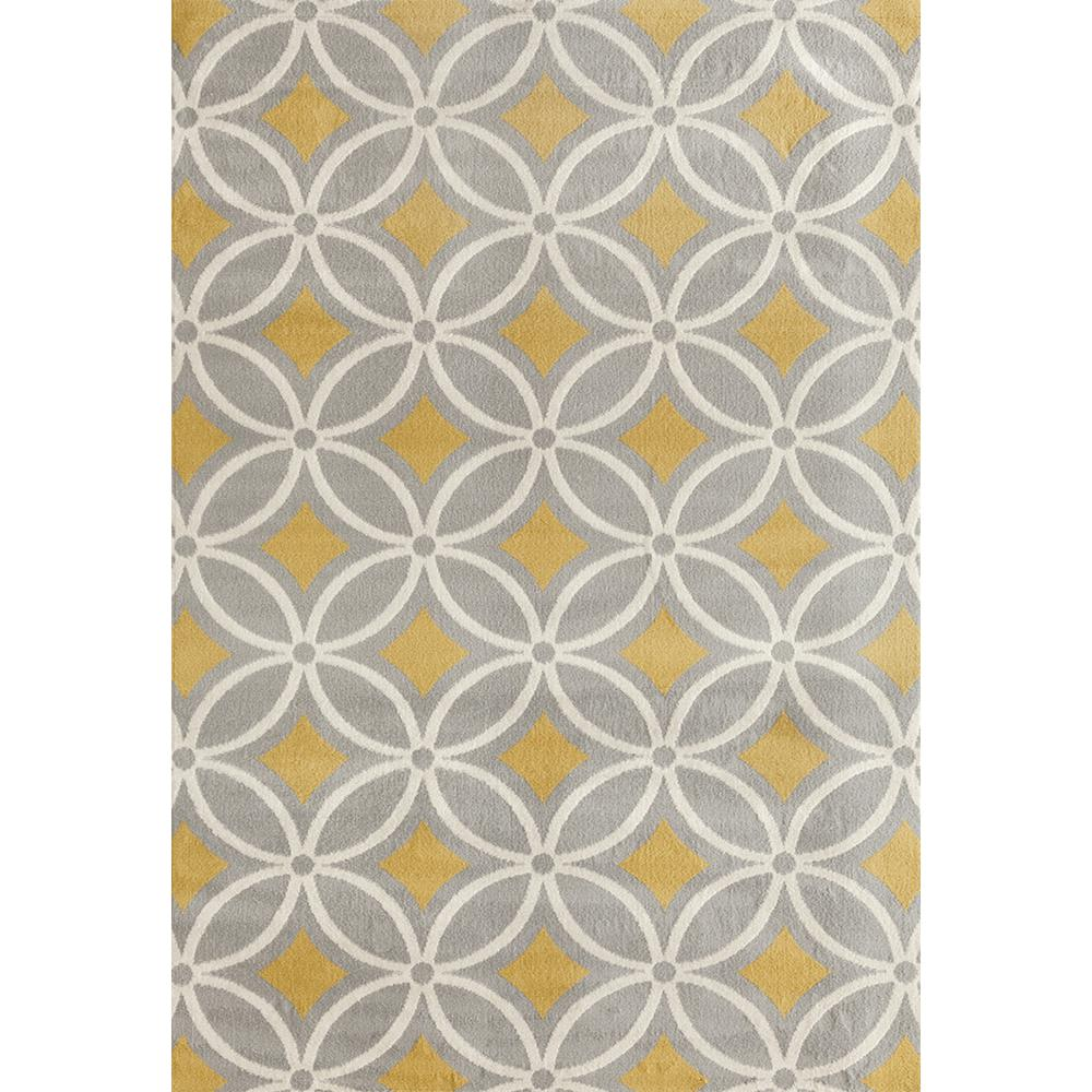 world rug gallery contemporary trellis chain gray yellow 5 ft x 7