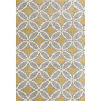 Contemporary Trellis Chain Gray/Yellow 5 ft. x 7 ft. Area Rug