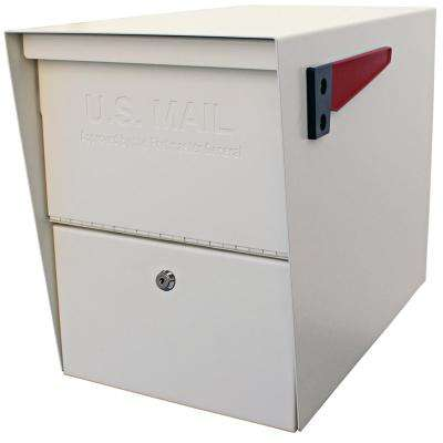 Package Master Locking Post-Mount Mailbox with High Security Patented Lock, White