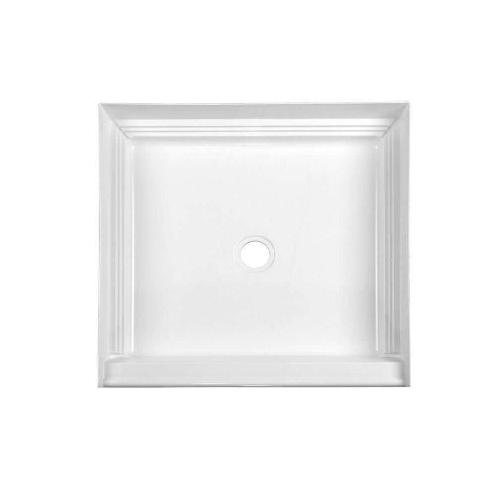 Aquatic A2 32 in. x 32 in. Single Threshold Center Drain Shower Base in White