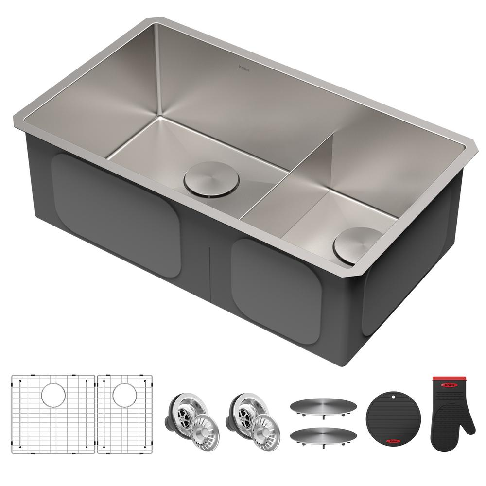 KRAUS Standart PRO Undermount Stainless Steel 16-Gauge 32 in. 60/40 Double Bowl Kitchen Sink