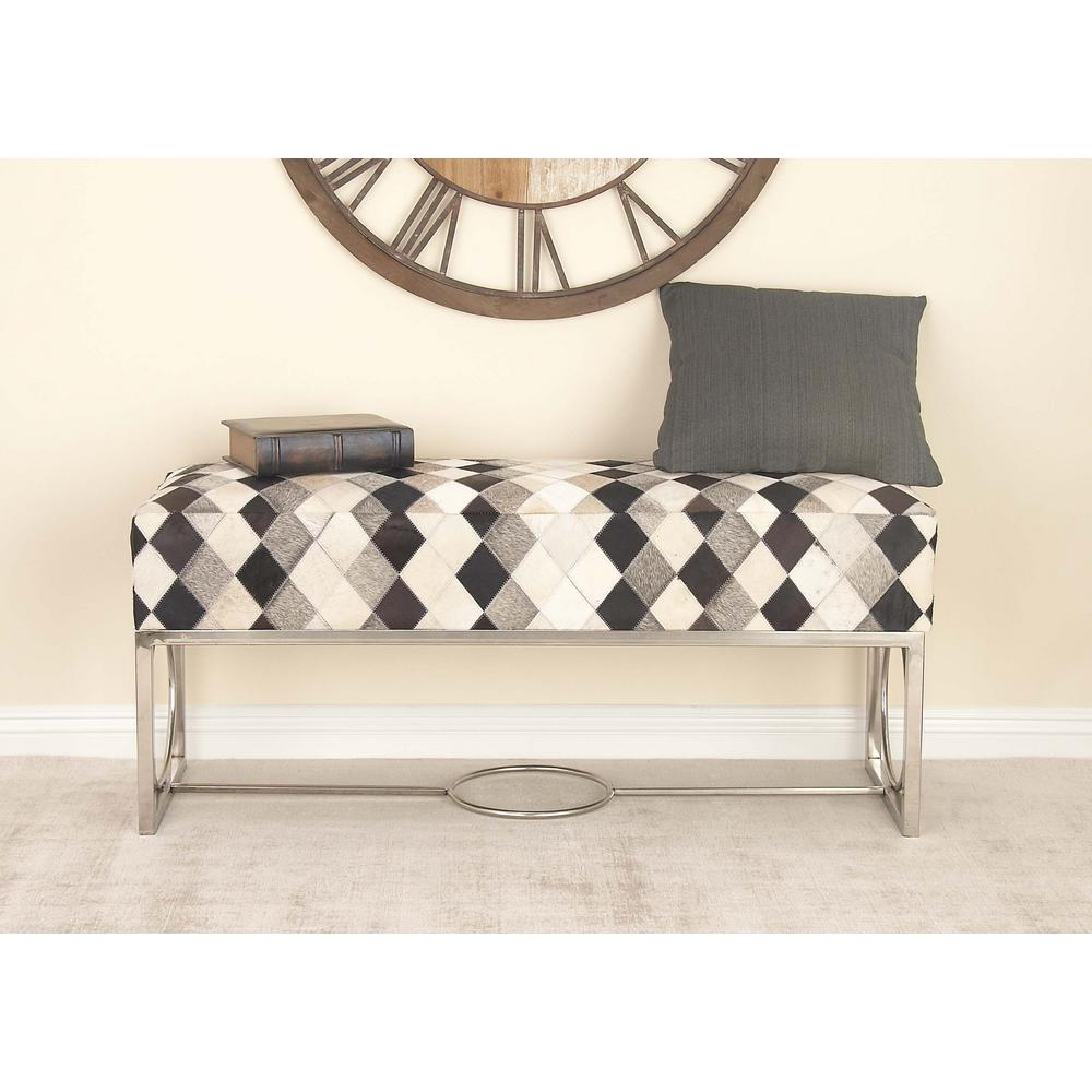 48 in. x 20 in. Leather and Stainless Steel Patch Bench