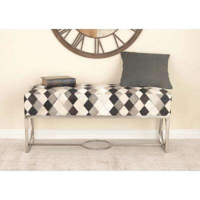 48 in. x 20 in. Leather and Stainless Steel Patch Bench with Gray, Black and White Checkered Patterns