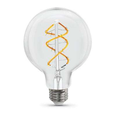 40W Equivalent Soft White (2150K) G25 Dimmable Spiral Filament LED Vintage Style Clear Glass Light Bulb