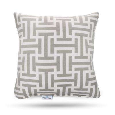 Outdura Wyndham Silver Square Outdoor Throw Pillow (2-Pack)