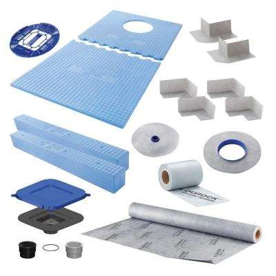 60 in. x 32 in. x 10 in. Shower Kit with Offset Drain