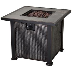 30 in. W x 24.6 in. H x 30 in. L Square Steel Propane Fire Pit Table with Beautiful Tabletop and Wicker Design