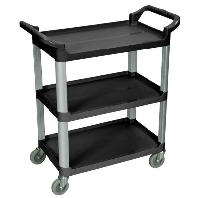 33 in. x 16 in. 3-Shelf Serving Cart in Black Shelves with Silver Legs