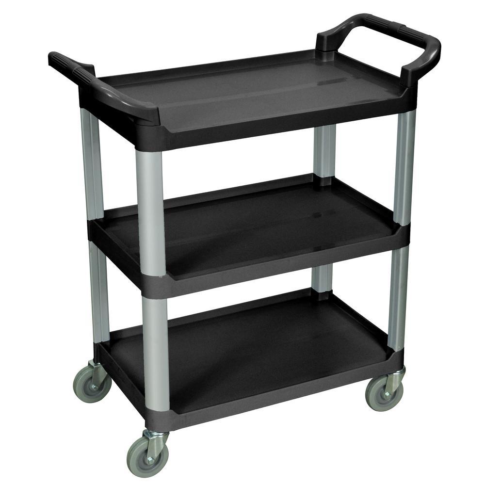Luxor 33 in. x 16 in. 3-Shelf Serving Cart in Black