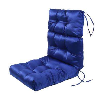 Blue Rectangle Outdoor Dining Chair Seat Cushion