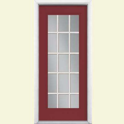 15 Lite Painted Steel Prehung Front Door with Brickmold Red  32 x 80 Doors Exterior The Home Depot
