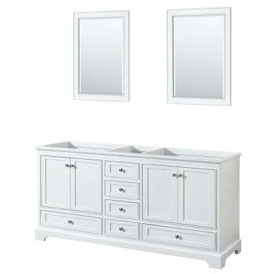 Deborah 71 in. W x 21.5 in. D Vanity Cabinet with 24 in. Mirrors in White