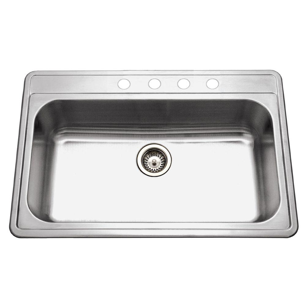 HOUZER Premiere Gourmet Series Drop-in Stainless Steel 33 in. 4-Hole Single  Bowl Kitchen Sink