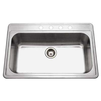 Premiere Gourmet Series Drop-in Stainless Steel 33 in. 4-Hole Single Bowl Kitchen Sink