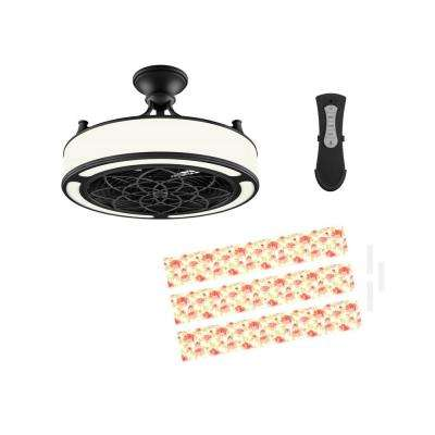 Anderson 22 in. LED Indoor/Outdoor Black Ceiling Fan with Remote Control and Floral Insert Panel