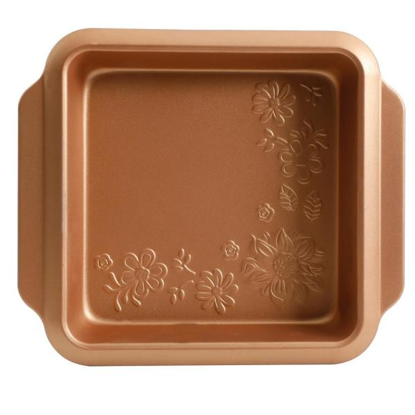 Gibson Home Country Kitchen 8 in. Square Copper Embossed Carbon Steel