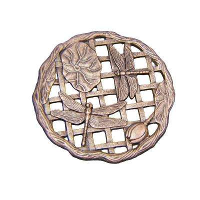 Dragonfly 12 in. x 12 in. Antique Bronze Cast Aluminum Stepping Stone
