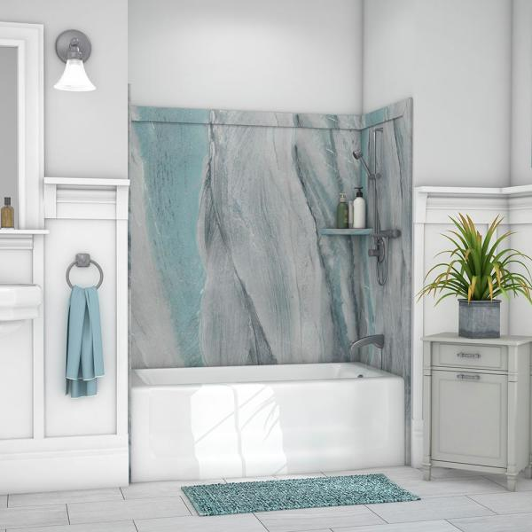 Elite 32 in. x 60 in. x 60 in. 9-Piece Easy Up Adhesive Tub Surround in Triton
