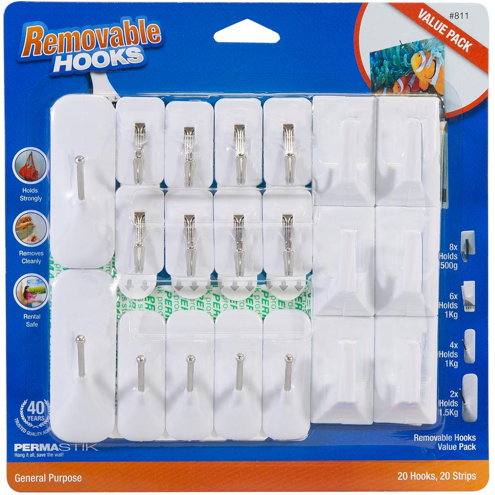 Permastik Removable Hooks Variety Pack 20 And Adhesive Strips Holds Up To