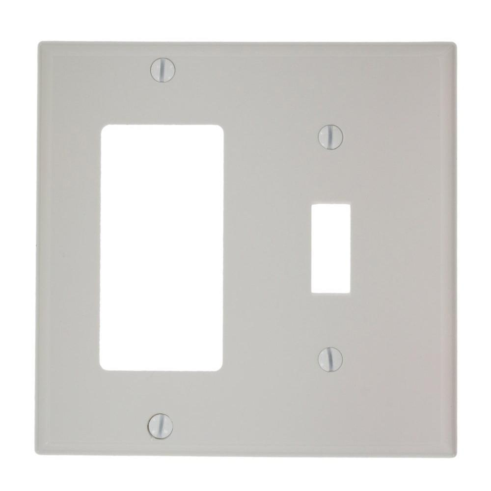 2-Gang Standard Size 1-Toggle 1-Decora Nylon Combination Wall Plate, White