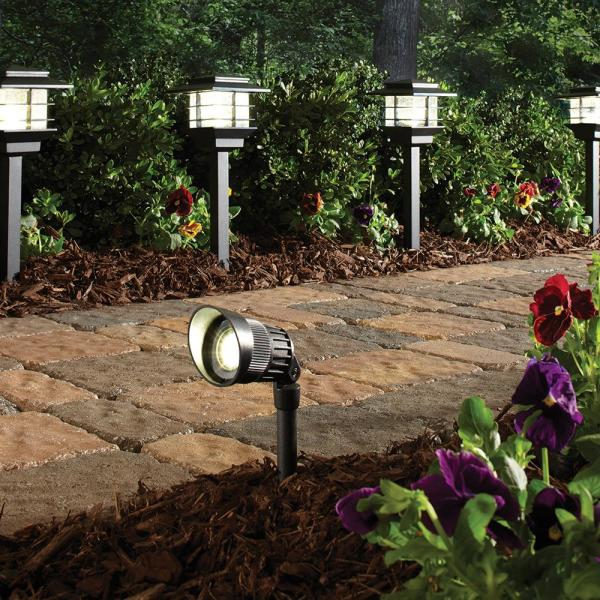 Hampton Bay Low Voltage Black Outdoor Integrated Led Landscape Zen Path Light And Deluxe Micro Spot Light Kit 6 Pack Hdc33945bk The Home Depot