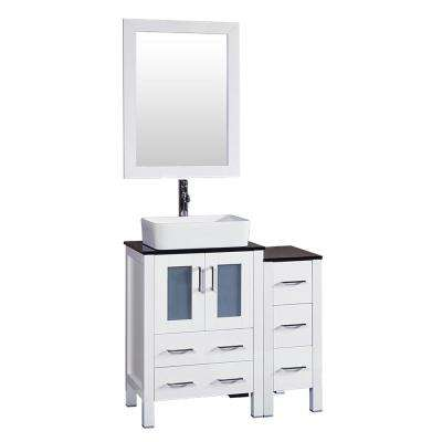 36 in. W Single Bath Vanity in White with Tempered Glass Vanity Top with White Basin and Mirror