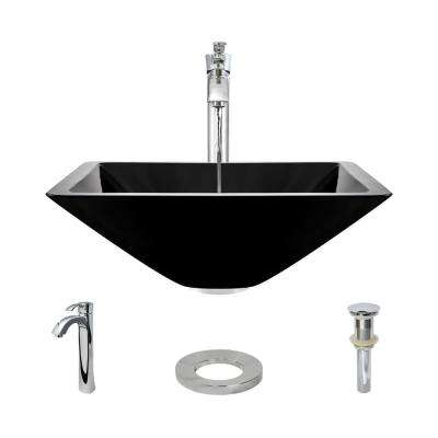 Glass Vessel Sink in Noir with R9-7006 Faucet and Pop-Up Drain in Chrome