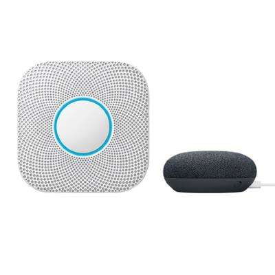 Nest Protect Wired Smoke and Carbon Monoxide Detector with Google Home Mini Charcoal