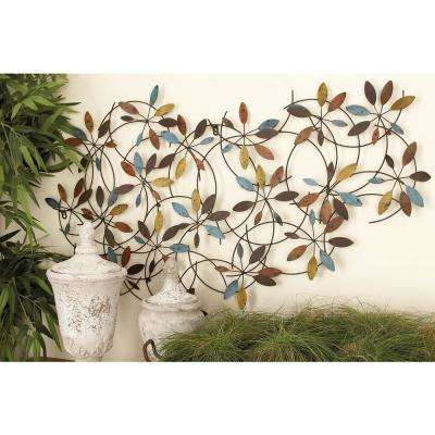 44 in. x 28 in. New Traditional Multi-Colored Leaf and Vine Iron Metal Wall Decor