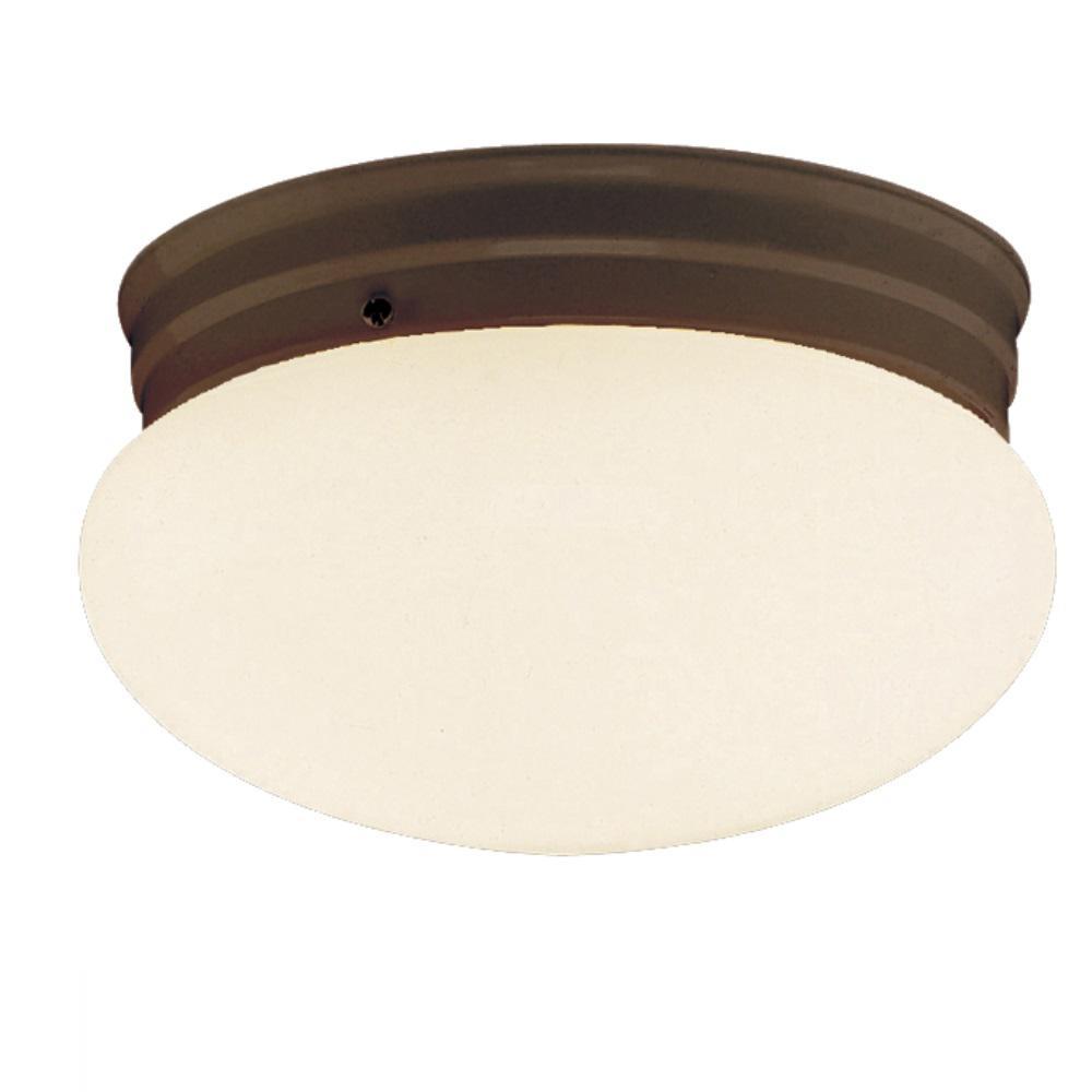 10 in. 1-Light Rubbed Oil Bronze CFL Flush Mount Ceiling Light