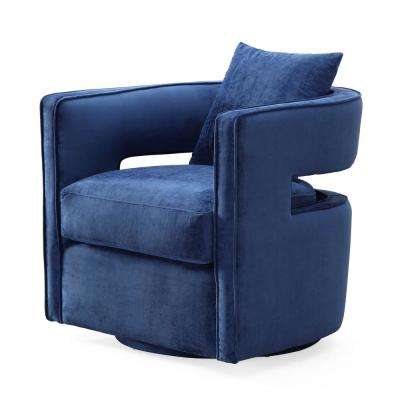 Kennedy Navy and Velvet Swivel Chair
