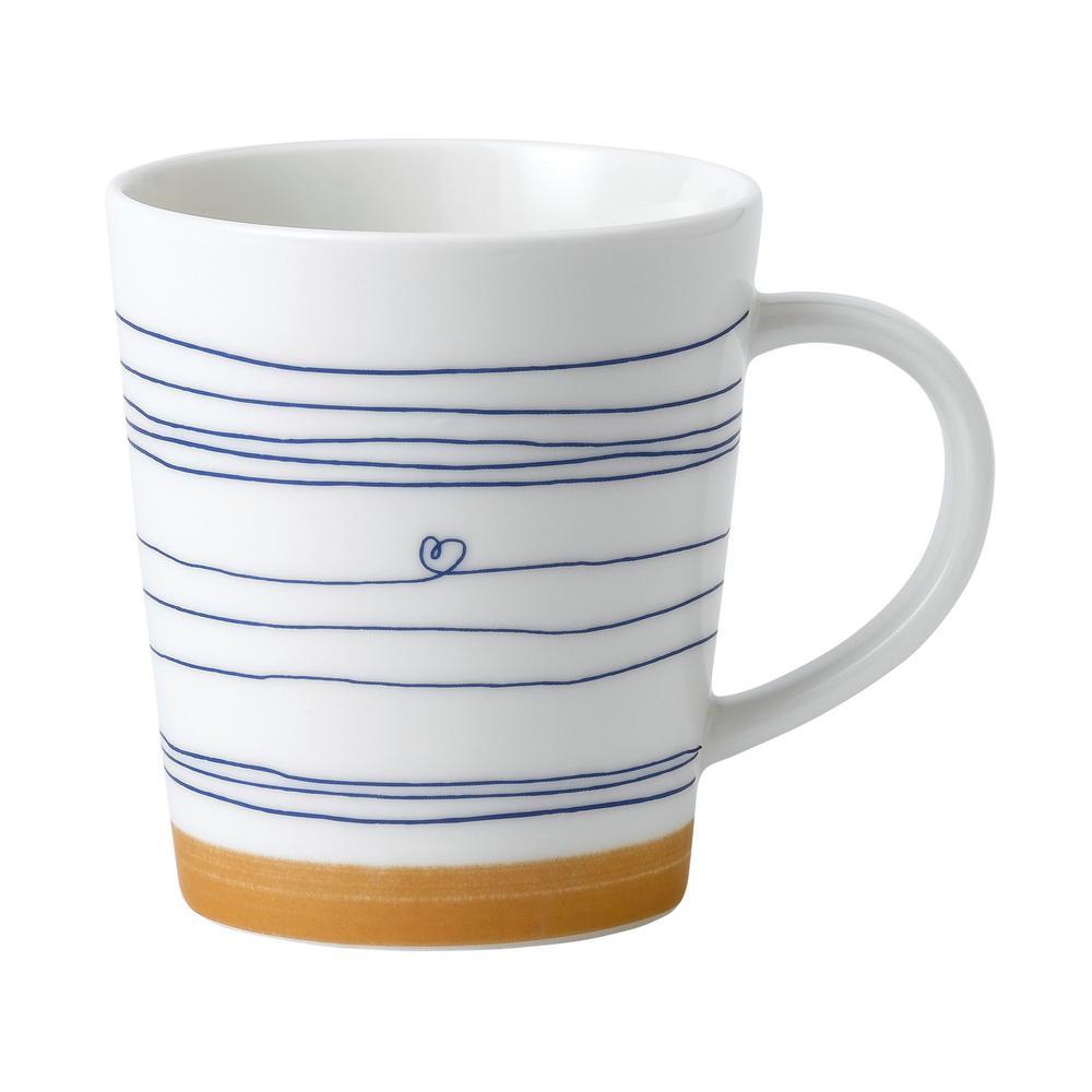 Happiness 16.5 oz. White and Blue Porcelain Mug