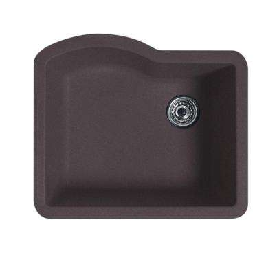 Undermount Granite 24 in. 0-Hole Single Bowl Kitchen Sink in Nero