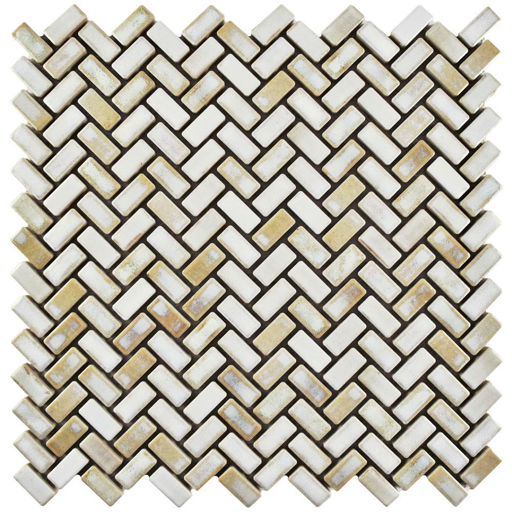 Rustica Herringbone Glacier 11-5/8 in. x 11-5/8 in. x 8 mm Porcelain Mosaic Tile
