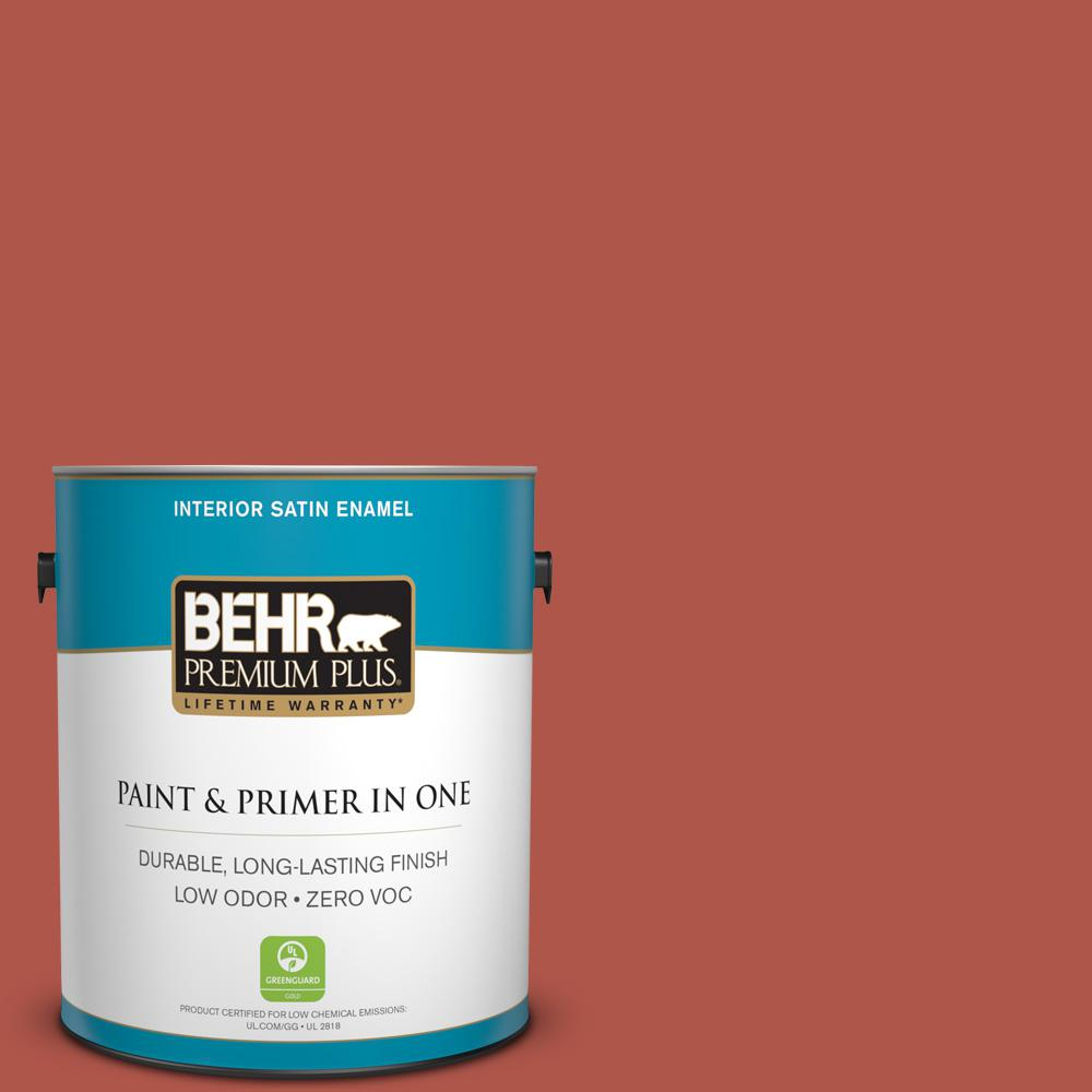 1 gal. #PPU2-14 Tibetan Orange Zero VOC Satin Enamel Interior Paint