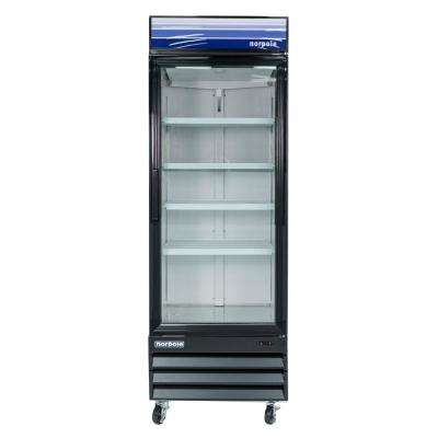 28 in. W 23 cu. ft. Single Swing Glass Door Refrigerator in Black