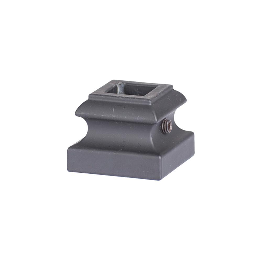 Square Hole 1.5 in. Aluminum Level Shoe Baluster Shoe Satin Black