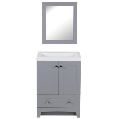 Thornbriar 24.50 in. W x 19 in. D Vanity in Pearl Gray with Cultured Marble Vanity Top in White w/White Sink and Mirror