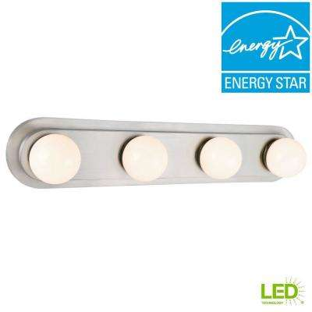 160-Watt Equivalent 4-Light Brushed Nickel Integrated LED Hollywood Vanity Light