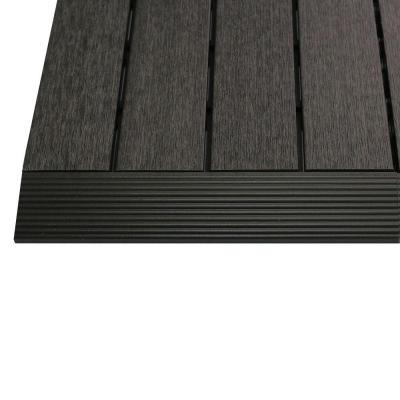 1/6 ft. x 1 ft. Quick Deck Composite Deck Tile Straight Fascia in Hawaiian Charcoal (4-Pieces/Box)