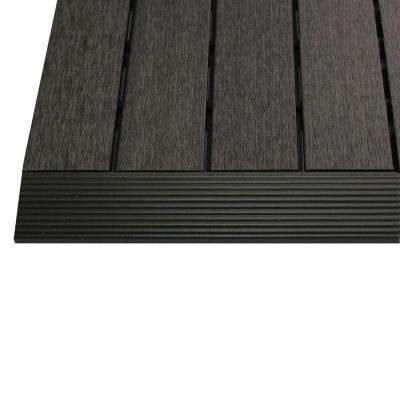 1/6 ft. x 1 ft. Quick Deck Composite Deck Tile Straight Trim in Hawaiian Charcoal (4-Pieces/box)