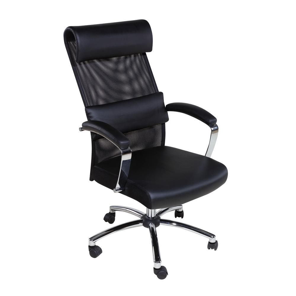 Onespace Black High Back Executive Mesh Chair With Head And Lumbar Support