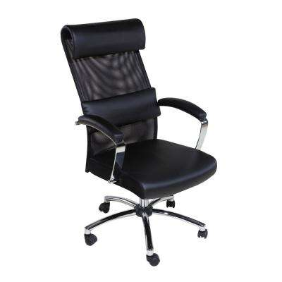 Black High Back Executive Mesh Chair with Head and Lumbar Support