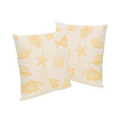 Seaside Beige and Orange Square Outdoor Throw Pillows (Set of 2)