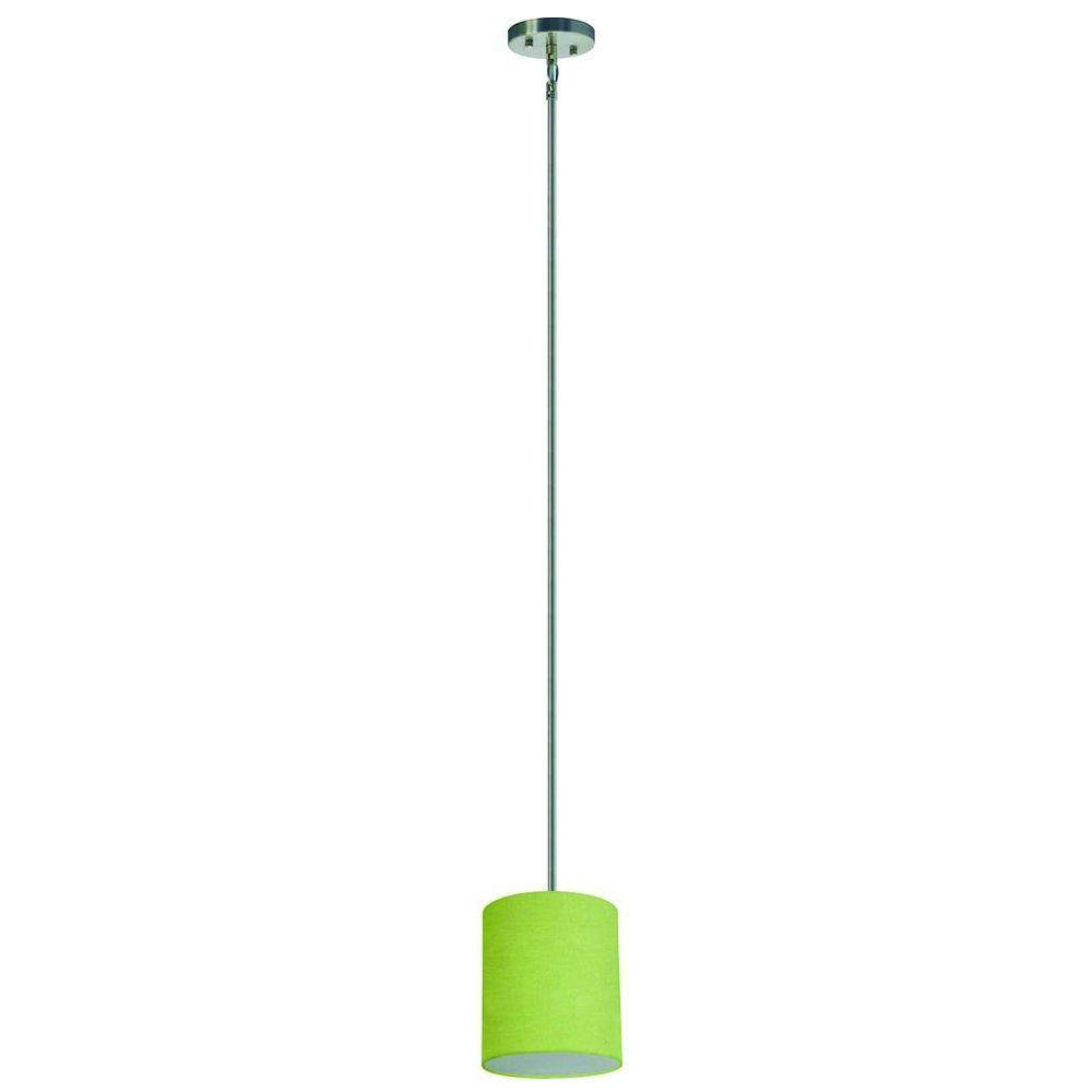 Yosemite Home Decor Lyell Forks Family 1-Light Satin Steel Mini Pendant with Rich Lime Fabric Shade