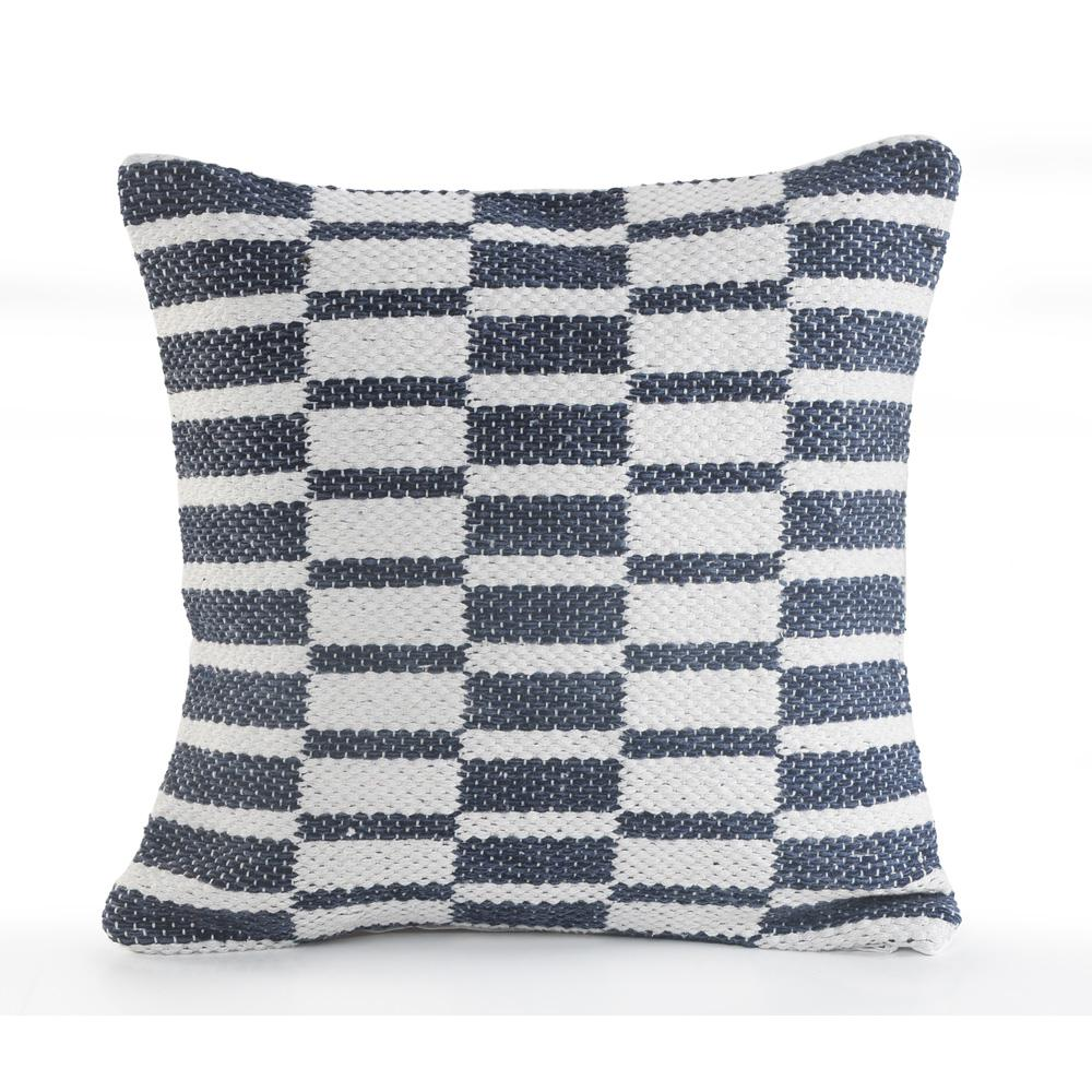 Alternate Blocks Navy and White Geometric Hypoallergenic Polyester 18 in. x 18 in. Throw Pillow