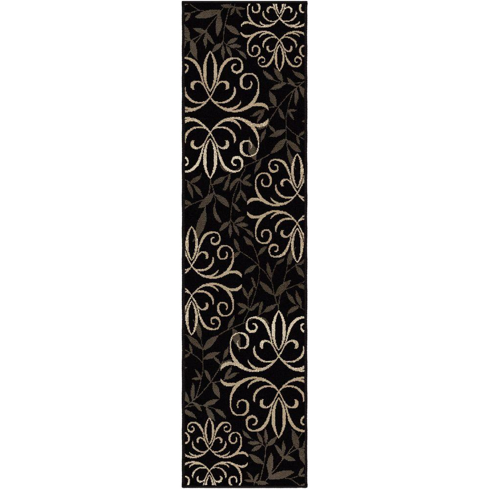 Orian Rugs Fergie Jet Black 2 ft. x 10 ft. Indoor Runner Rug