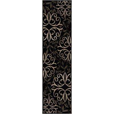 Fergie Jet Black 2 ft. x 10 ft. Indoor Runner Rug