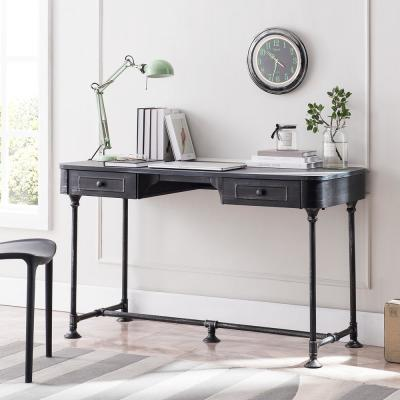 50.25 in. Antique Black Rectangular 2 -Drawer Writing Desk with Industrial Angles