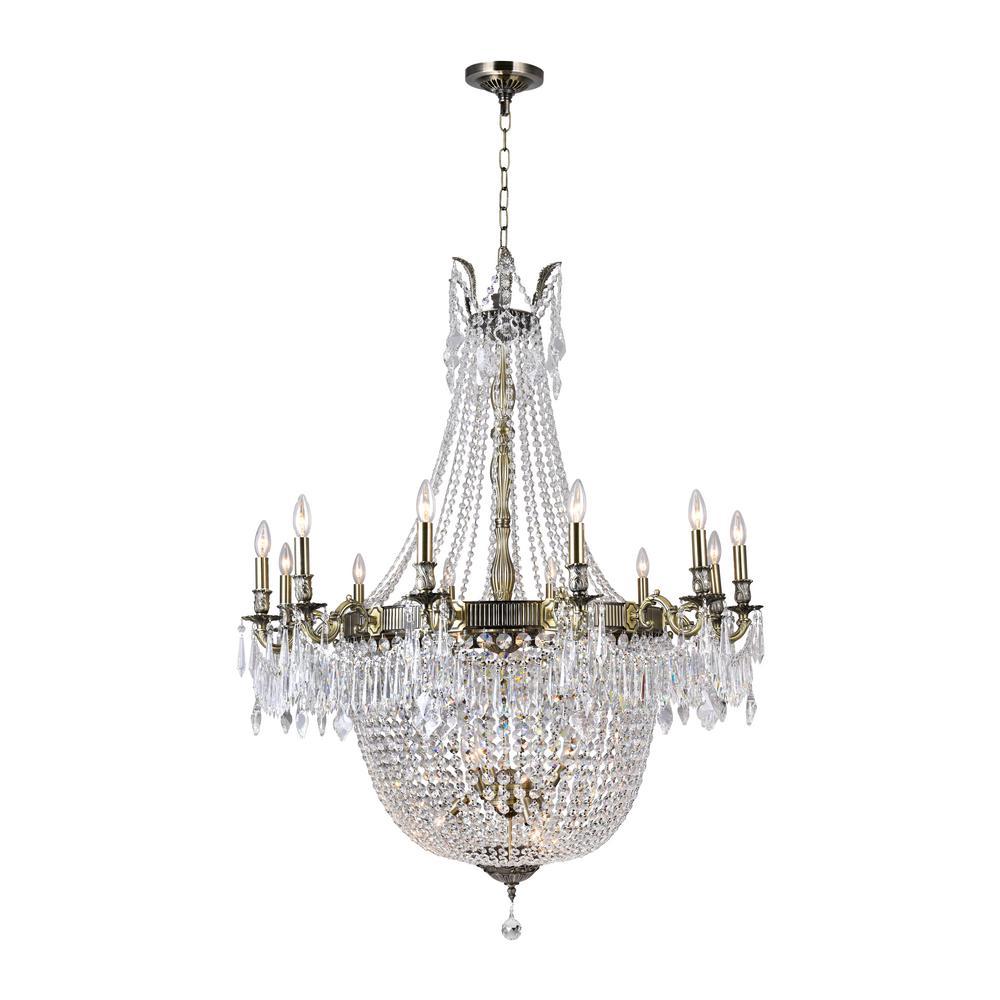 Brass 24-Light Antique Brass Chandelier with Brass shade